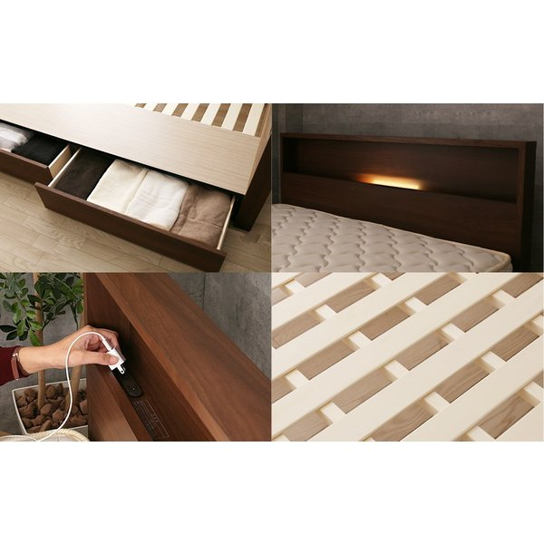 棚 コンセント 収納 ベッド シングル 引き出し 収納ベッド LED照明 すのこ 日本製 フランスベッド マットレス付き マルチラス|ioo|07