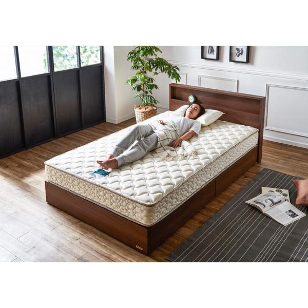 棚 コンセント 収納 ベッド シングル 引き出し 収納ベッド LED照明 すのこ 日本製 フランスベッド マットレス付き マルチラス|ioo|08