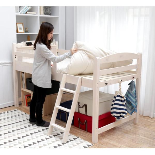 5/21までプレミアム会員5%OFF★ ロフトベッド ベッド すのこベッド シングル ロータイプ 天然木 木製 階段 コンセント付き フック付き|ioo|06