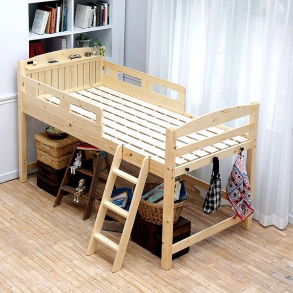 5/21までプレミアム会員5%OFF★ ロフトベッド ベッド すのこベッド シングル ロータイプ 天然木 木製 階段 コンセント付き フック付き|ioo|09