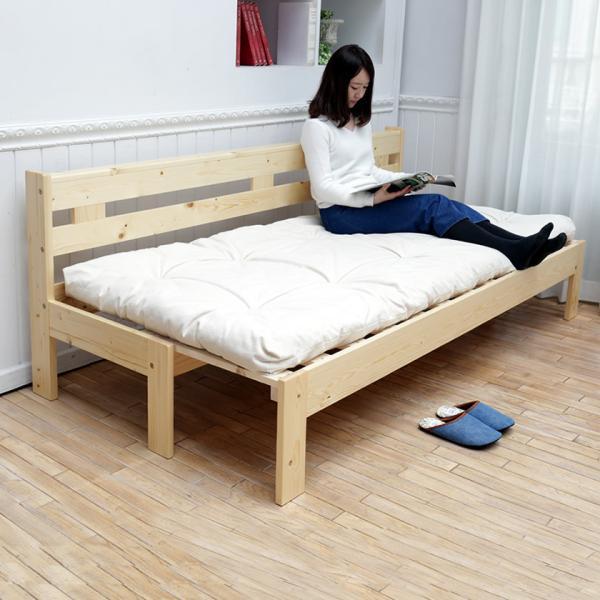 9/16〜21限定プレミアム会員5%OFF★ 木製伸長式すのこベッド専用ふとんセット シングル 伸長式ソファベッド 2way天然木すのこベッド|ioo|05