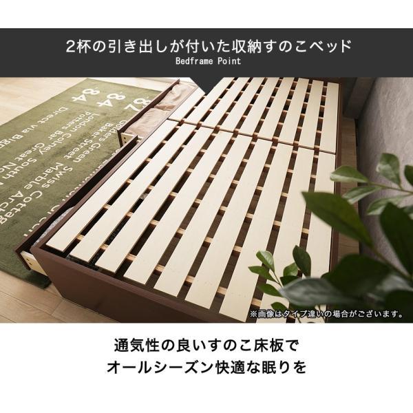 引き出し付きベッド シングル 木製 収納ベッド すのこベッド 2層ポケットコイルマットレス付き パネルベッド スリム|ioo|06