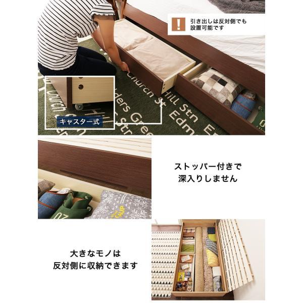 引き出し付きベッド シングル 木製 収納ベッド すのこベッド 2層ポケットコイルマットレス付き パネルベッド スリム|ioo|07