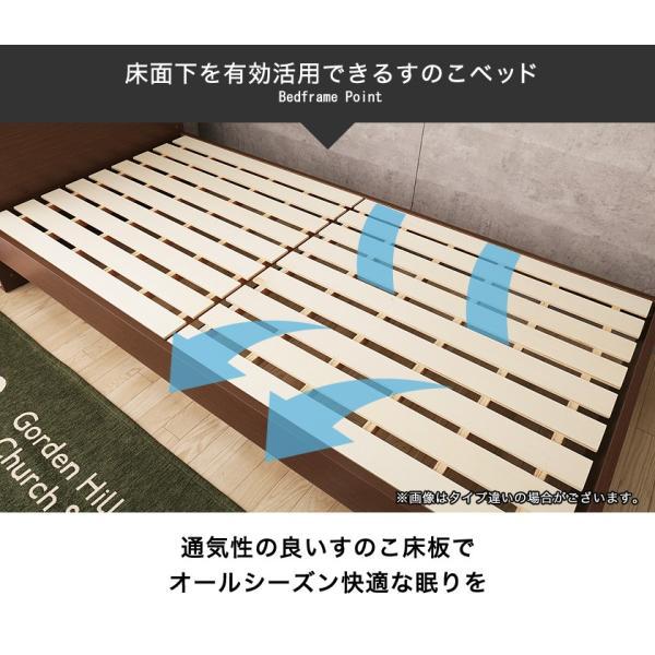 すのこベッド シングル 木製 シングルベッド 耐荷重150kg マルチラススプリングマットレス付き パネルベッド スリム|ioo|06