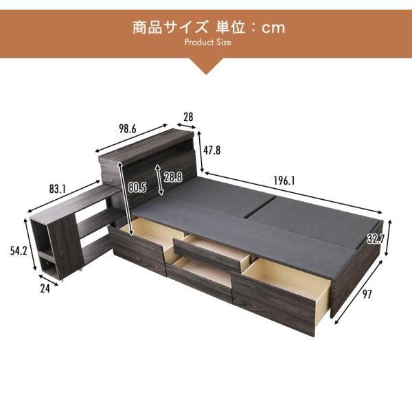 6/25限定プレミアム会員10%OFF! チェストベッド シングル 木製 収納ベッド 大収納ベッド 薄型ポケットコイルマットレス 宮付きベッド|ioo|11