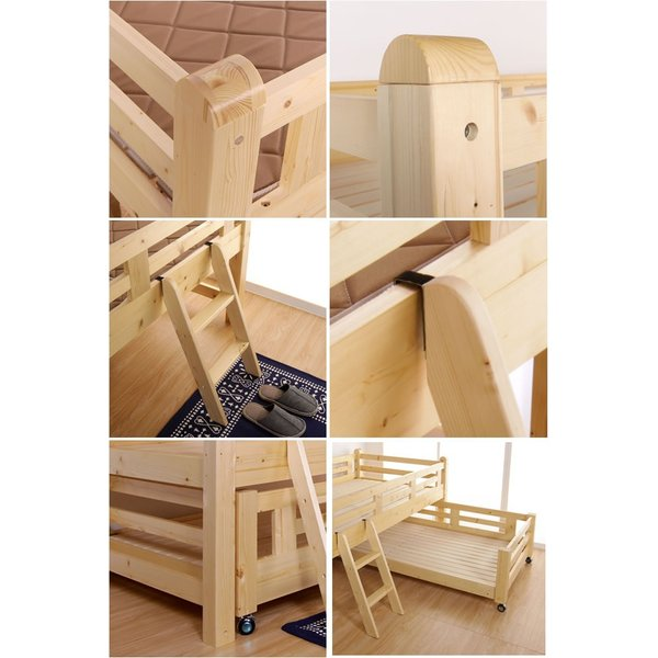親子ベッド 木製 ツインベッド シングル すのこベッド ベッドフレーム 高さ控えめ スライド親子ベッド 収納 ベッド下収納 木製2段ベッド|ioo|03