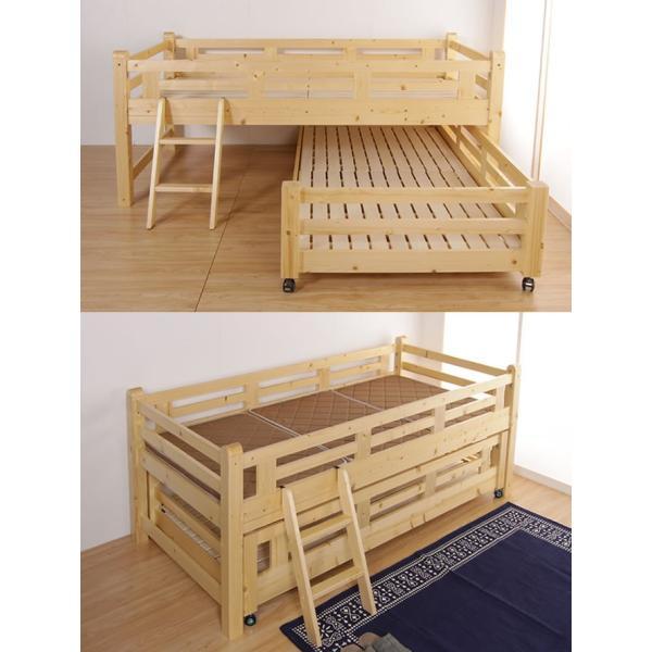 親子ベッド 木製 ツインベッド シングル すのこベッド ベッドフレーム 高さ控えめ スライド親子ベッド 収納 ベッド下収納 木製2段ベッド|ioo|05