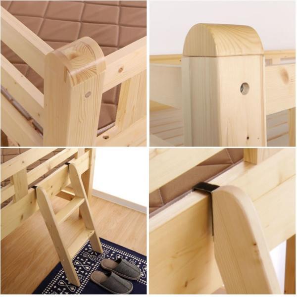 8/16〜8/20プレミアム会員5%OFF! ロフトベッド 木製ロフトベッド ミドルベッド シングル すのこベッド ベッドフレーム 高さ控えめ|ioo|03