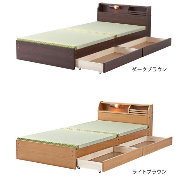 ベッド 畳ベッド 収納ベッド セミダブル ロータイプ 幅123×奥行208×高さ59.5(床面高28)cm ダークブラウン ライトブラウン 棚付き 照明付き キャスター付き ioo 02
