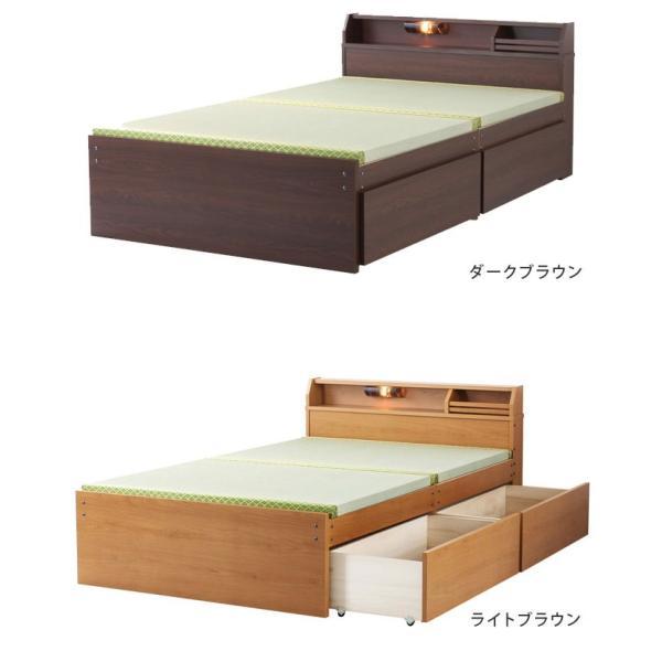 ベッド 畳ベッド 収納ベッド ダブル ハイタイプ 幅142×奥行208×高さ73.5(床面高42)cm ダークブラウン ライトブラウン 棚付き 照明付き キャスター付き 引出し|ioo|02