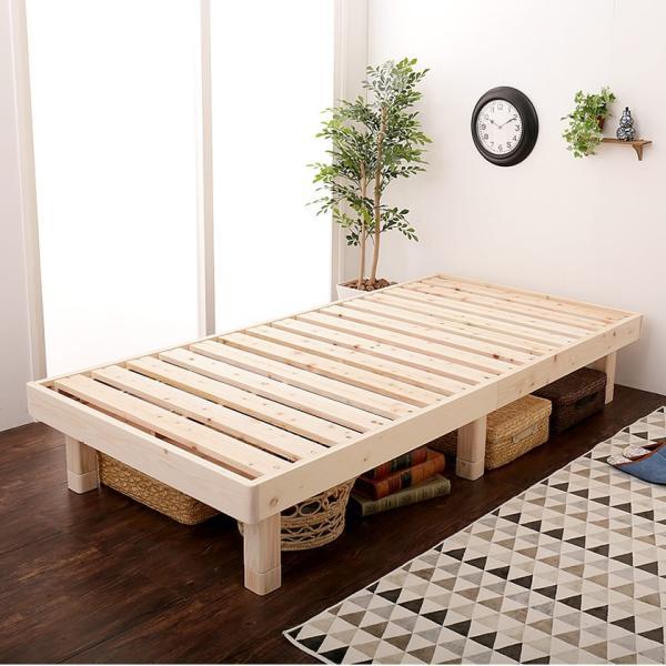 檜すのこベッド シングル ヘッドレスベッド フレームのみ 総檜 床面高さ3段階調節 湿気を上手ににがすのこ床板 スノコベッド シングルベッド|ioo|12