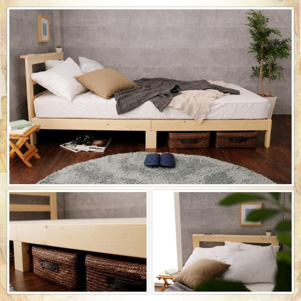 すのこベッド セミシングル ベッドフレーム 木製 北欧パイン材 耐荷重350kg 棚付き 簡単組立|ioo|18