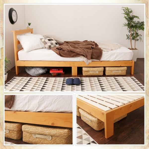 すのこベッド セミシングル ベッドフレーム 木製 北欧パイン材 耐荷重350kg 棚付き 簡単組立|ioo|19