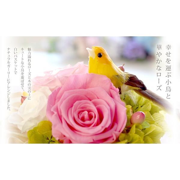 プリザーブドフラワー ギフト 誕生日 結婚式 電報 小鳥 鳥 お返し プレゼント 花 ブリザーブドフラワー お祝い 送料無料 小鳥のバスケット|ipfa|05