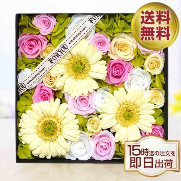 プリザーブドフラワー box ボックス ギフト フラワーボックス 両親 電報 プレゼント 誕生日 お祝い お花 フラワー  結婚祝い ガーベラの花畑 ipfa