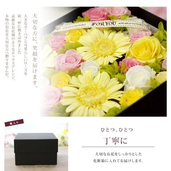 プリザーブドフラワー box ボックス ギフト フラワーボックス 両親 電報 プレゼント 誕生日 お祝い お花 フラワー  結婚祝い ガーベラの花畑 ipfa 02