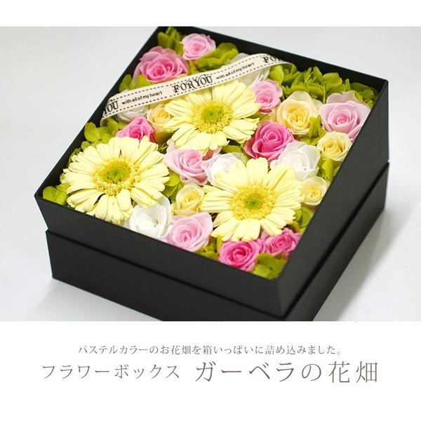 プリザーブドフラワー box ボックス ギフト フラワーボックス 両親 電報 プレゼント 誕生日 お祝い お花 フラワー  結婚祝い ガーベラの花畑 ipfa 04