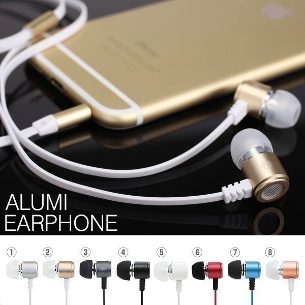 イヤホン イヤフォン Flat Cable Alumi Earphone フラットケーブル アルミスマホ スマートフォン iPhone Android カナル型|iplus