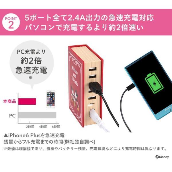 ディズニー 充電器  5ポート USB-AC 卓上 充電器 急速充電 iphone android スマートIC 搭載 ピクサー キャラクター disney_y|iplus|08