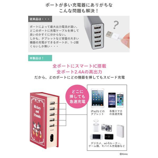 ディズニー 充電器  5ポート USB-AC 卓上 充電器 急速充電 iphone android スマートIC 搭載 ピクサー キャラクター disney_y|iplus|10