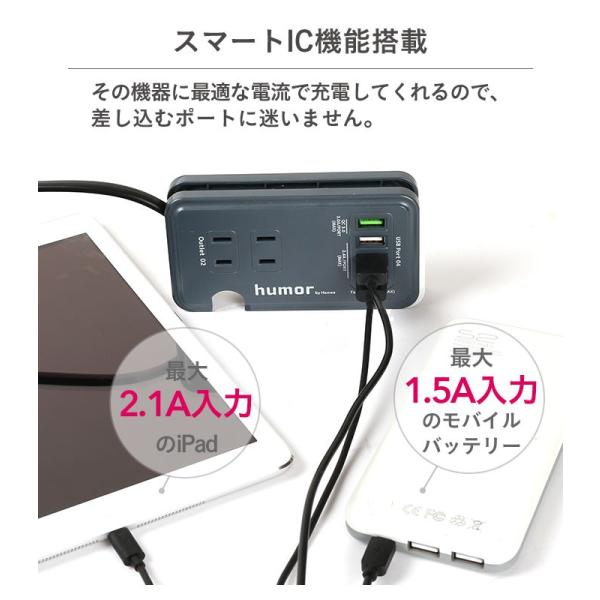 充電器 バッテリー おしゃれ 電源タップ 持ち運び 充電器 コンパクト 収納 旅行 出張 AC USB マルチタップ 複数充電 同時充電 humor|iplus|07