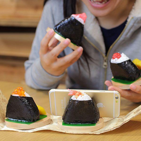 食品サンプル スタンド (おにぎり)スマホ スマートフォン グッズ|iplus|04