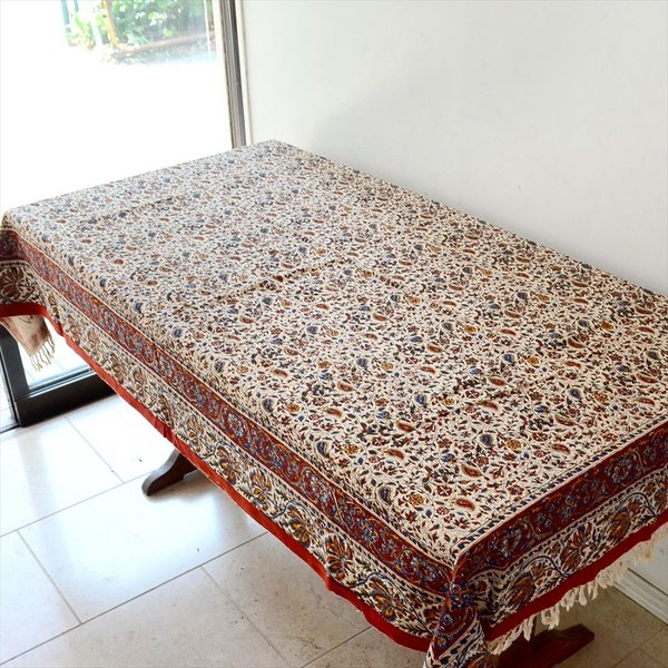 ペルシャ更紗 ガラムカール(イラン・手染布)200cmサイズ長方形 198x132cm /アンバー系フラワー柄/マルチカバー/テーブルクロス|ipogabbeh