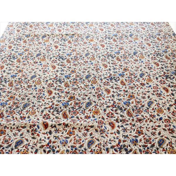 ペルシャ更紗 ガラムカール(イラン・手染布)200cmサイズ長方形 198x132cm /アンバー系フラワー柄/マルチカバー/テーブルクロス|ipogabbeh|03