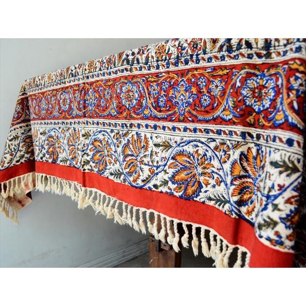ペルシャ更紗 ガラムカール(イラン・手染布)200cmサイズ長方形 198x132cm /アンバー系フラワー柄/マルチカバー/テーブルクロス|ipogabbeh|04