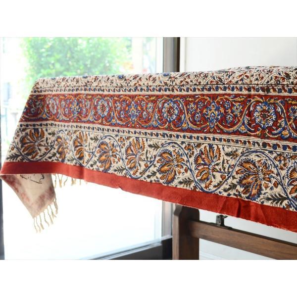 ペルシャ更紗 ガラムカール(イラン・手染布)200cmサイズ長方形 198x132cm /アンバー系フラワー柄/マルチカバー/テーブルクロス|ipogabbeh|05