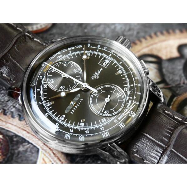 ツェッペリン ZEPPELIN 腕時計 8670-2 100周年記念 クォーツ 42mm レザーベルト|ippin|02