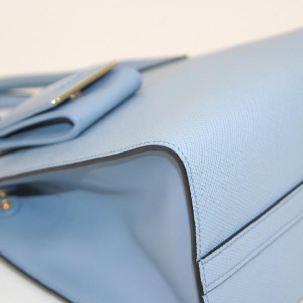 PRADA プラダ モノクローム 2WAYハンドバッグ サフィアーノ レザー 水色 1BA156 未使用 (314727)