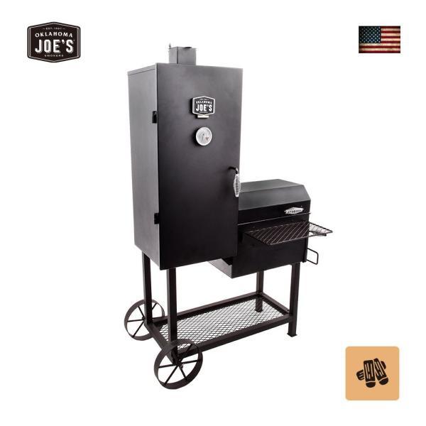 バーベキューコンロ アメリカ 炭 スモーカー 燻製 グリル BBQ 蓋付き 大型 バンデラバーティカルオフセットスモーカー アウトドア オクラホマジョーズ|irc-cb