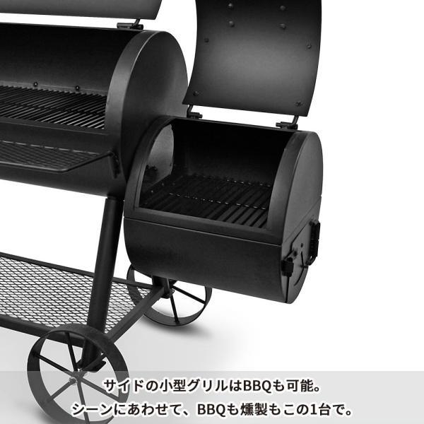 バーベキューコンロ アメリカ 炭 スモーカー 燻製 グリル スモーク BBQ 蓋付き 大型 ハイランドオフセットスモーカー アウトドア オクラホマジョーズ|irc-cb|04