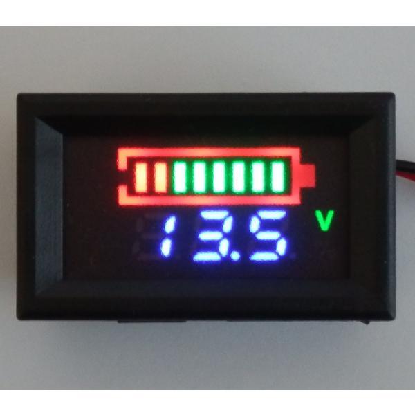 12Vバッテリー用電圧計 LC【カラーバー&数値/簡単2線式】|iredy