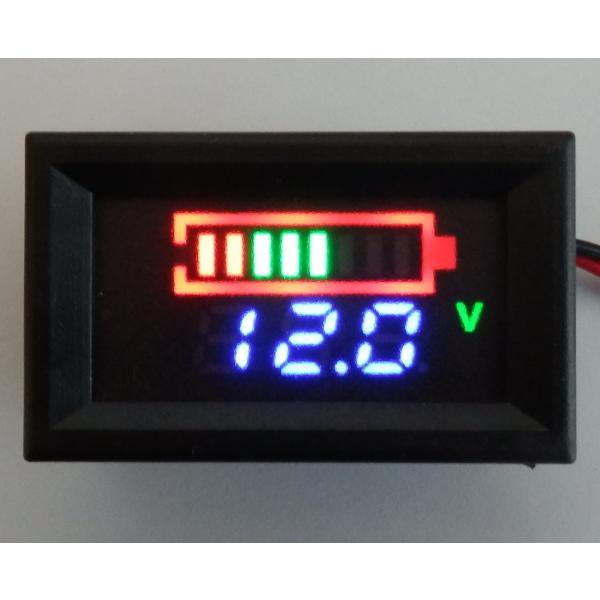 12Vバッテリー用電圧計 LC【カラーバー&数値/簡単2線式】|iredy|02