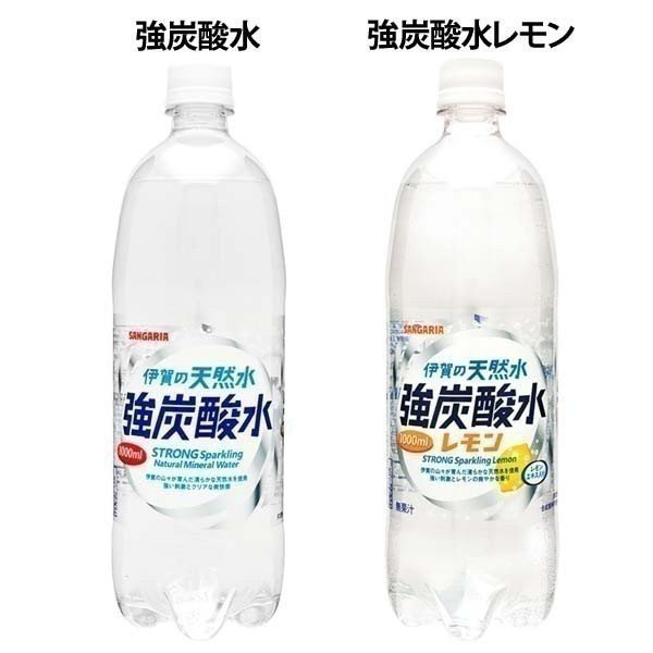 水 ペットボトル 1000ml 1L 24本 伊賀の天然水 強炭酸水 サンガリア (D)|irisplaza