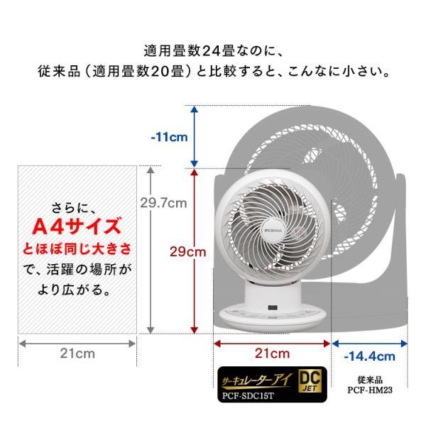 サーキュレーター アイリスオーヤマ 扇風機 静音 24畳 首振り 上下左右 DCモーター おしゃれ  15cm コンパクト ボール型 DC JET PCF-SDC15T:予約品 irisplaza 11