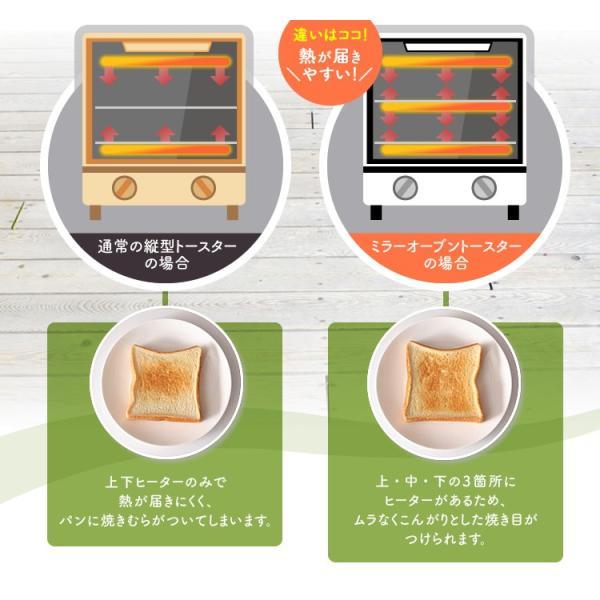 トースター アイリスオーヤマ オーブントースター 2枚 おしゃれ 縦型 コンパクト 2段構造 ミラーオーブントースター MOT-012|irisplaza|10