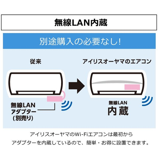 エアコン 6畳 アイリスオーヤマ 工事無し Wi-Fi スマホで操作 人感センサー 暖房 クーラー 冷房 室外機 2.2kW IRA-2201W IRA-2201RZ|irisplaza|08