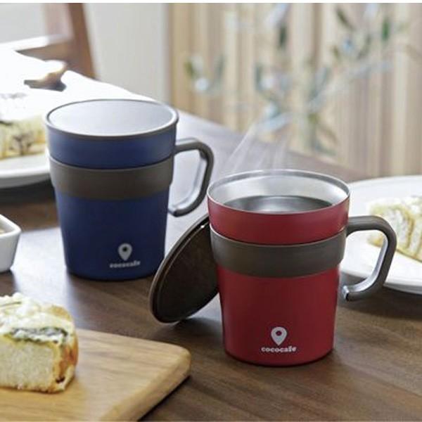 マグカップ おしゃれ ステンレス 真空二重構造 保温 保冷 蓋付き 取手付き 250ml ステンレスマグ ココカフェ