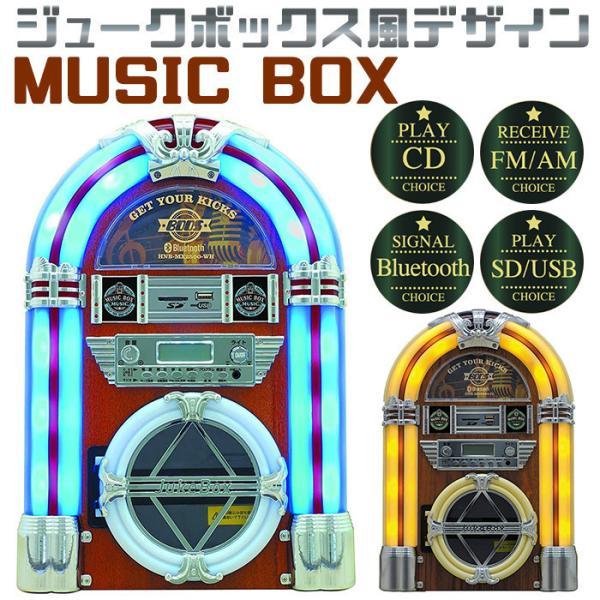 CDプレーヤーミニコンポおしゃれミュージックボックスレトロ調BluetoothMP3 生USBSDFMAMラジオ音楽