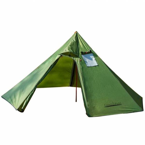 テント 2〜3人用 屋外 キャンプ ファミリー おしゃれ Sunruck 煙突穴付きワンポールテント グリーン LF-OT010-GR