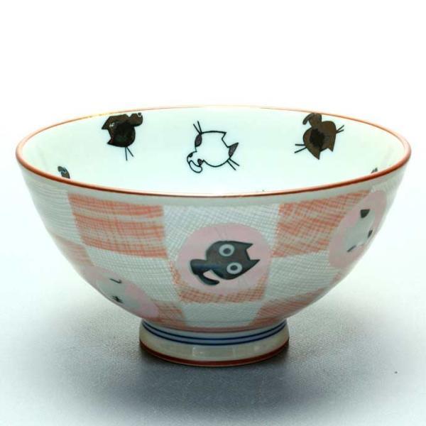 にゃんこ倶楽部飯碗赤1個/美濃焼 日本製 飯碗 茶碗 お米 新米 ごはん 炊き込みご飯 混ぜご飯 栗ご飯 豆ご飯 1個 220ml 市松模様 猫 黒猫 irodoristore