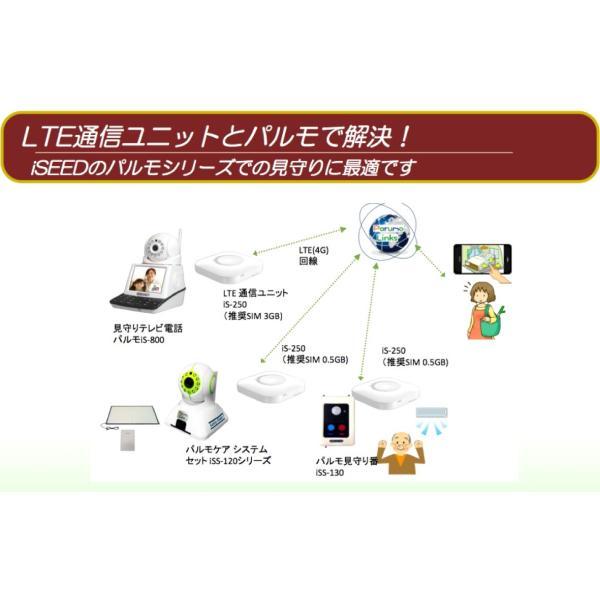 インターネットが無い高齢者のお宅向け、工事不要 LTE通信ユニットiS-250 テレビ電話パルモ用SIM登録済み|iseed-shop|03