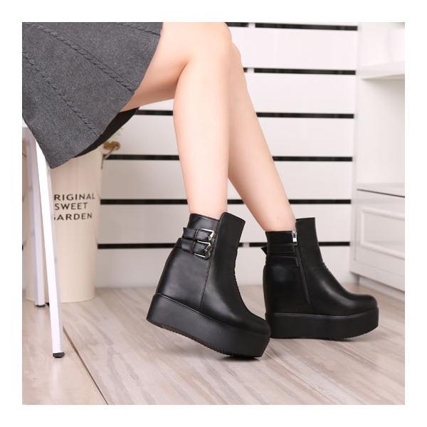 大きめ 厚底靴 マーティン靴 レディースシューズ 婦人靴 厚底 ショートブーツ インヒール 女性用 短靴 レディース ショートブーツ