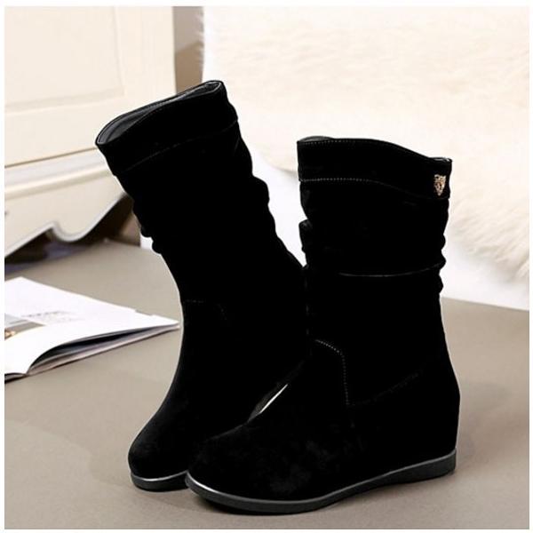 女性用 シンプル 短靴 着痩せ 美脚 スエード インヒール レディース ミドルブーツ マーティンブーツ 全2色