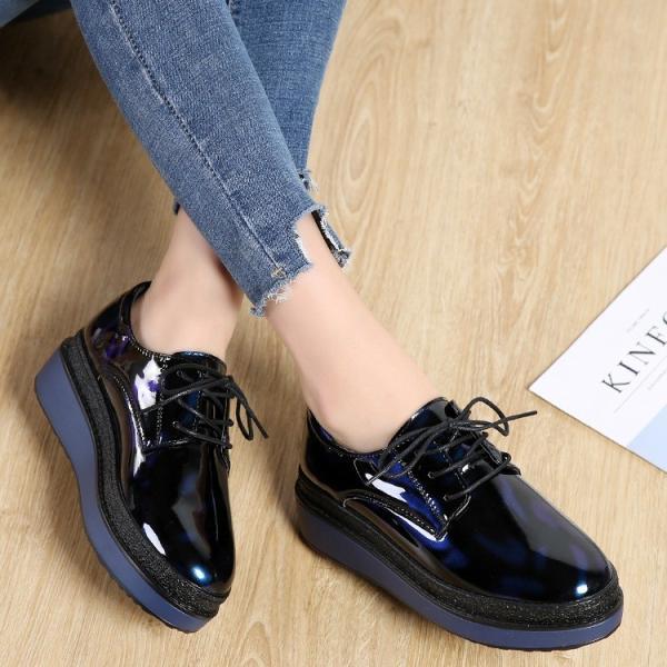オックスフォードシューズ ローヒール おじ靴 レディース  婦人靴 シューズ オフィス 通勤 歩きやすい レースアップシューズ エナメル