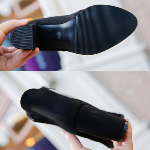 ショートブーツ レディース ブーツ 太ヒール チャンキーヒール サイドジップ アンクルブーツ  8cm 履きやすい 疲れにくい スエード ブーティ 秋冬