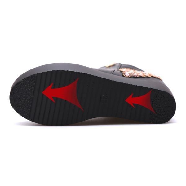 ビジュー付き 厚底 インヒールブーツ エナメル ウェッジソール 秋冬 アンクルブーツ サイドジップ レディース ショートブーツ ブーティ 歩きやすい 美脚